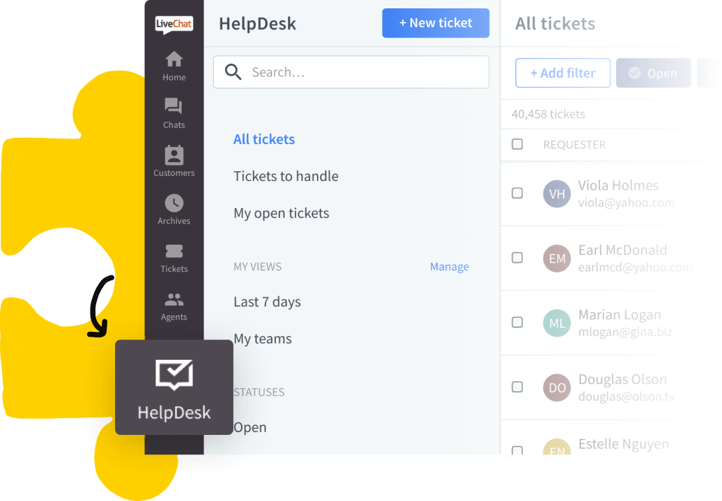 LiveChat dashboard with HelpDesk icon