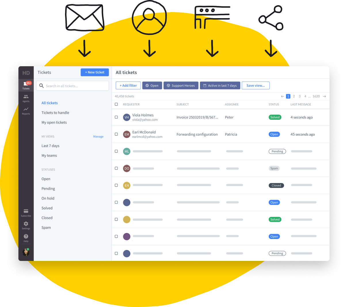 HelpDesk dashboard with small illustrations: envelope, avatar, app window, and 3 connected dots