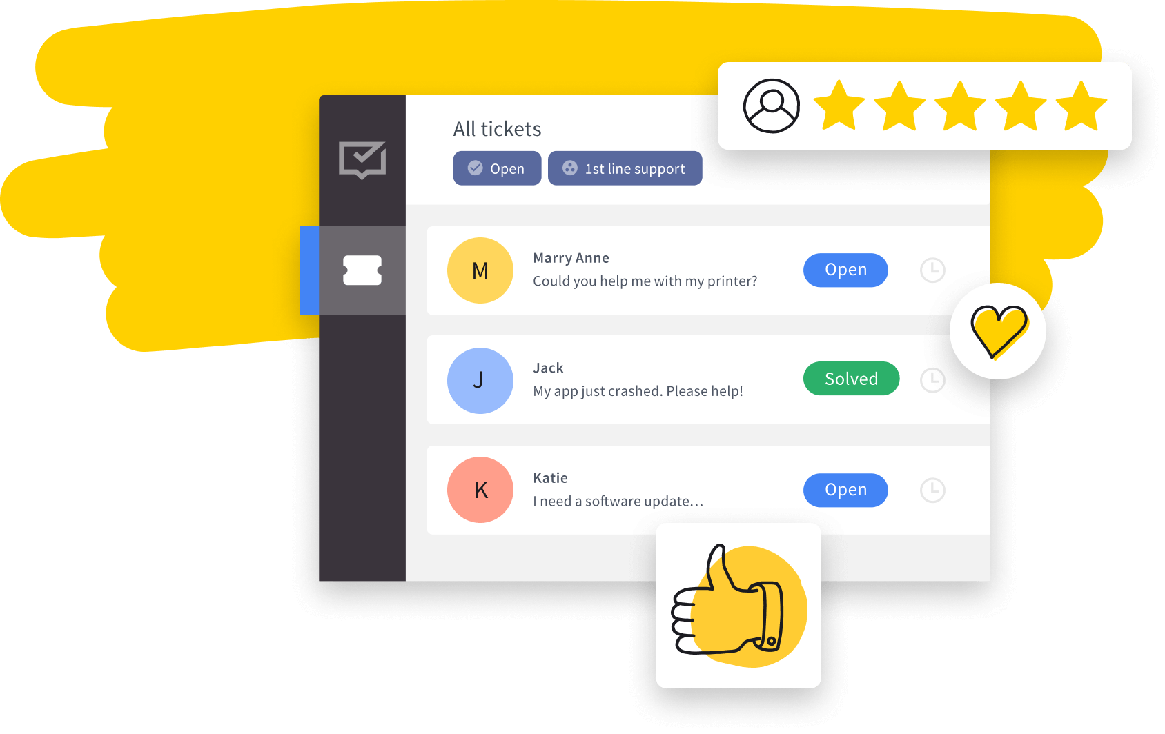 HelpDesk app with positive feedback (heart, five stars, thumbs-up)