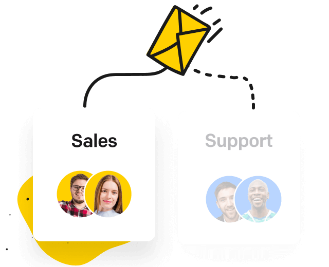 Envelope and two groups of agents: sales and support