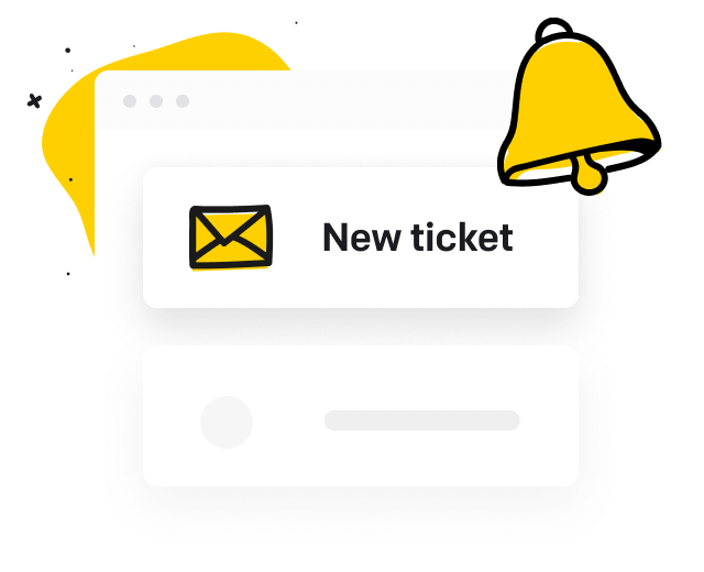 New ticket notification and a bell