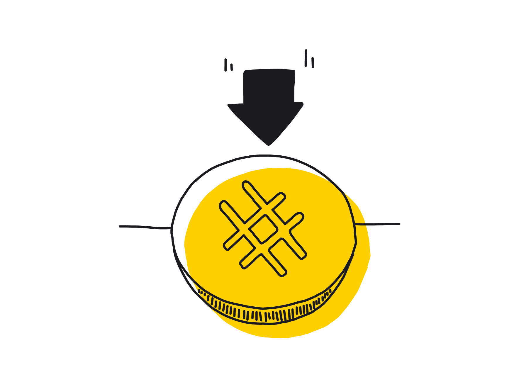 Illustration: A button with a hash with an arrow pointing at it