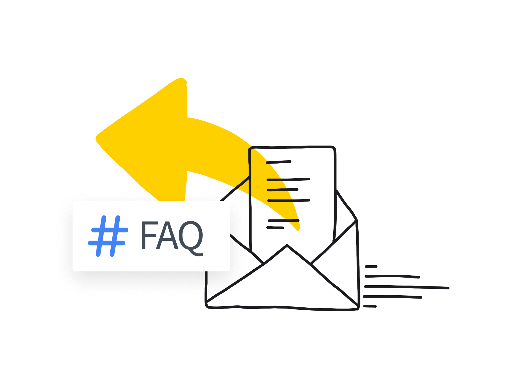 Illustration: Open envelope with a letter, an arrow going outwards, and a hash with FAQ
