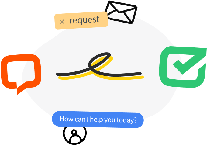 Three smiling faces with in a circle with screenshots of HelpDesk features around them